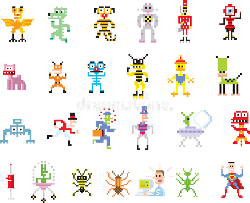 Group of pixel illustrations vector illustration