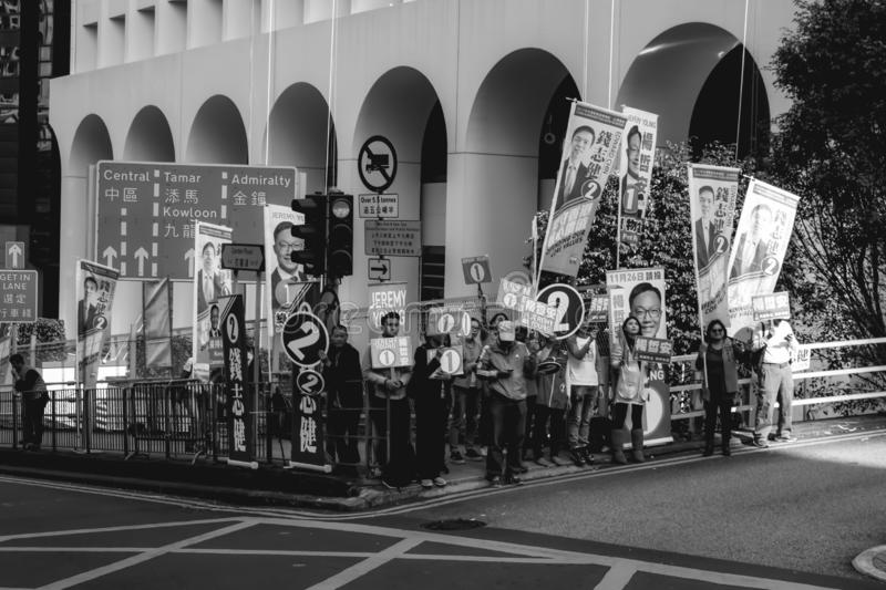 Political supporters protesting in the streets of Hong Kong royalty free stock image
