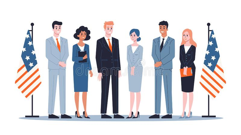 Group of politician in business suit. Demoracy and government stock illustration