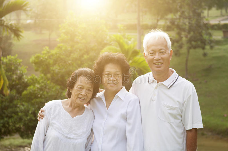 Group portrait of Asian seniors people stock photography