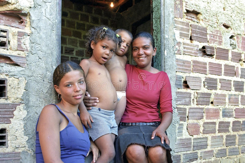 Group portrait of Brazilian mother and children royalty free stock photography