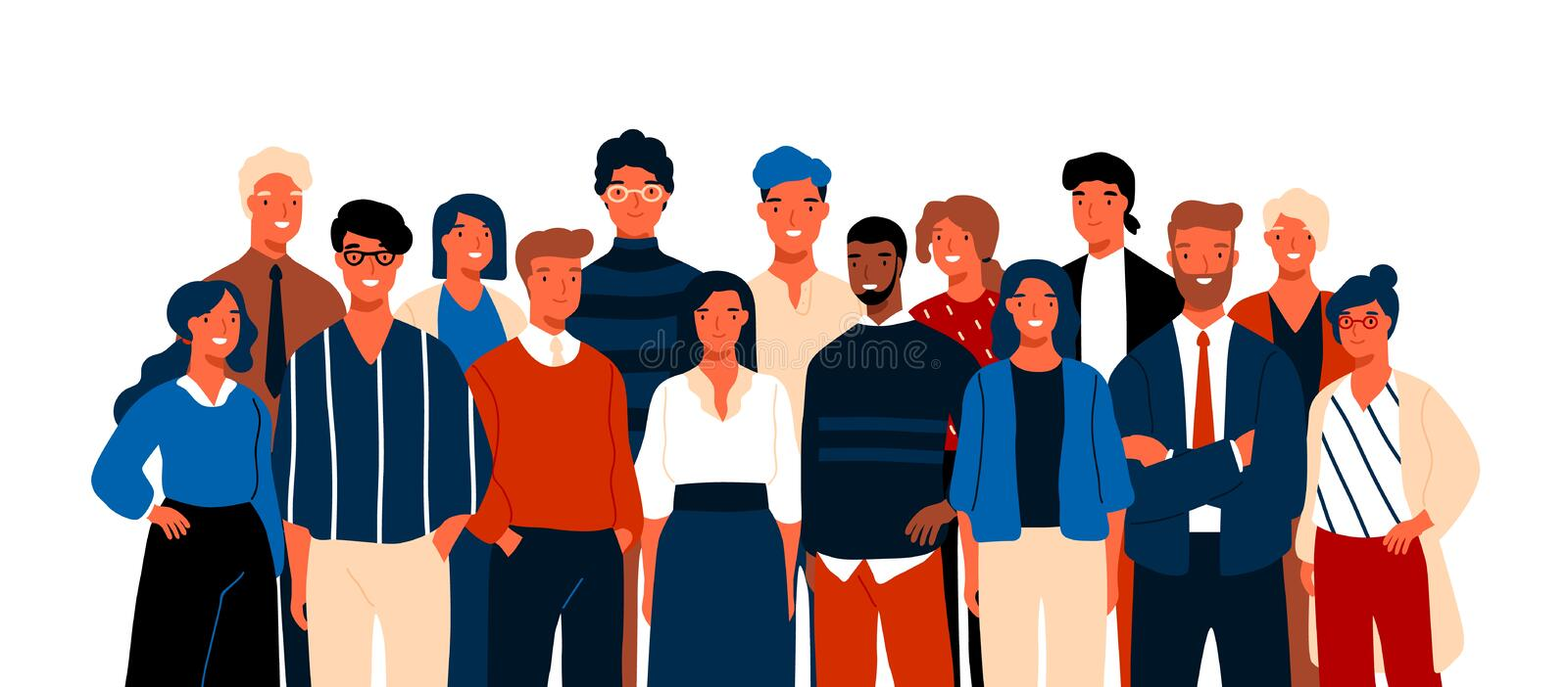 Group portrait of funny smiling office workers or clerks standing together. Team of cute cheerful male and female stock illustration