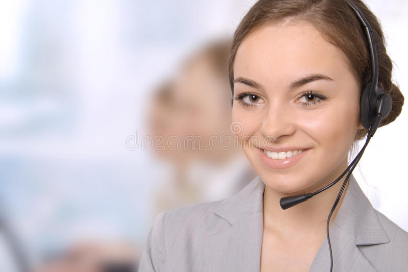 Group portrait of happy customer service people stock image