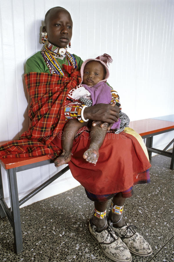 Group portrait Kenyan Maasai mother and daughter royalty free stock photography