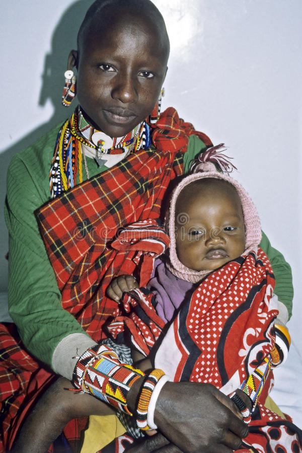 Group portrait Kenyan Maasai mother and daughter stock images