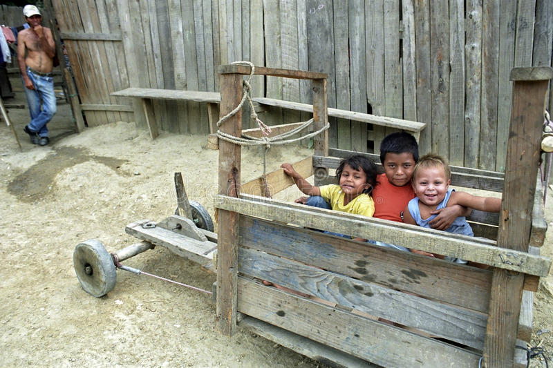 Group portrait of Latino children playing in soapbox stock photos