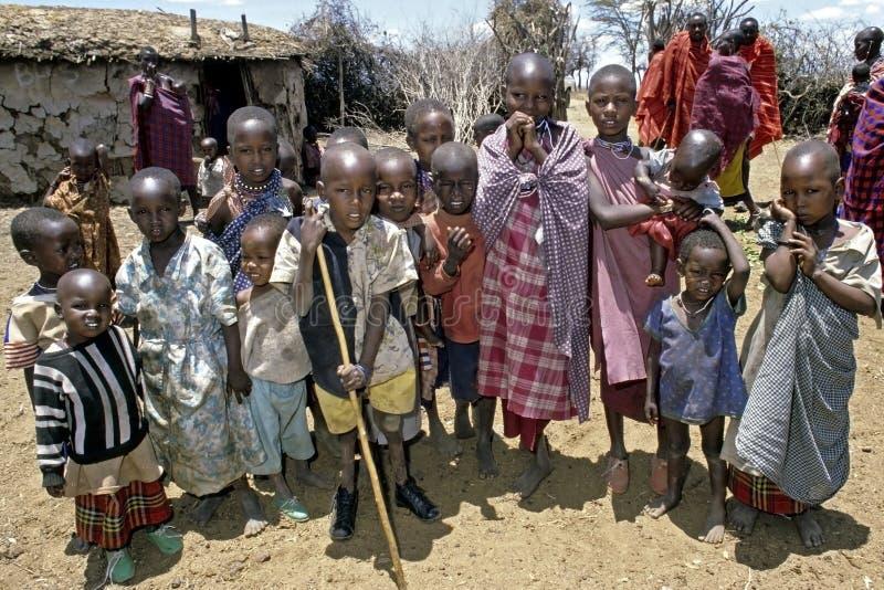 Group portrait of Maasai children, Kenya stock image