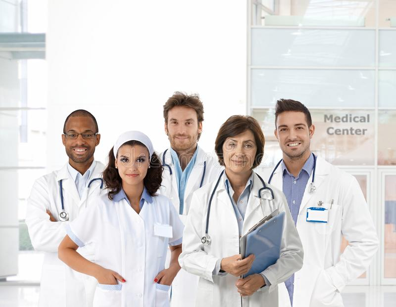 Group portrait of medical staff at clinic stock photo
