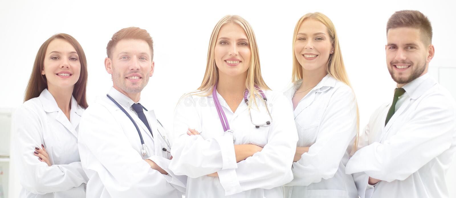 Group portrait of a professional medical team. The concept of health royalty free stock photo