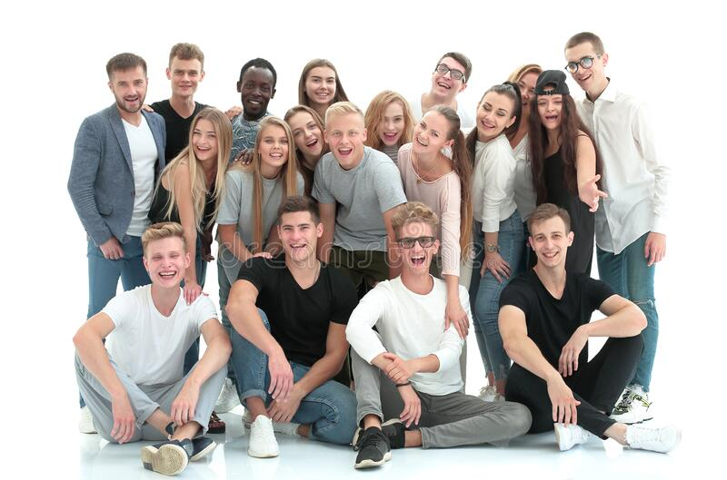 Group portrait of a team of successful young people. stock image