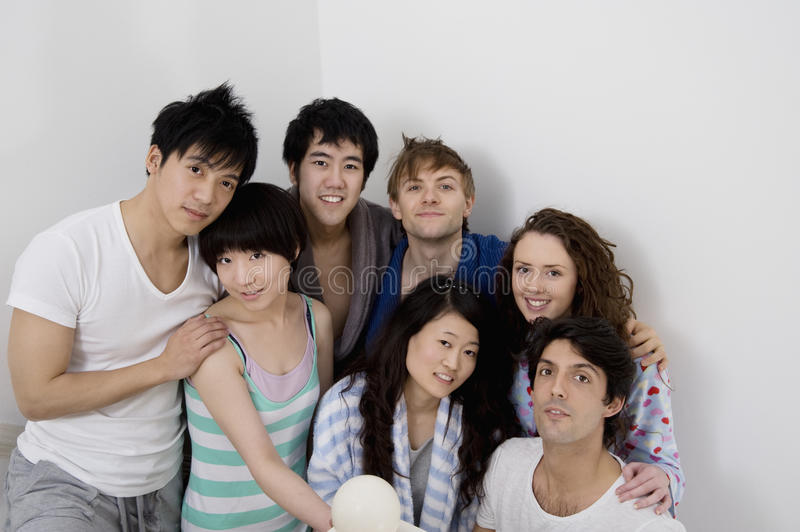 Group portrait of young friends stock image