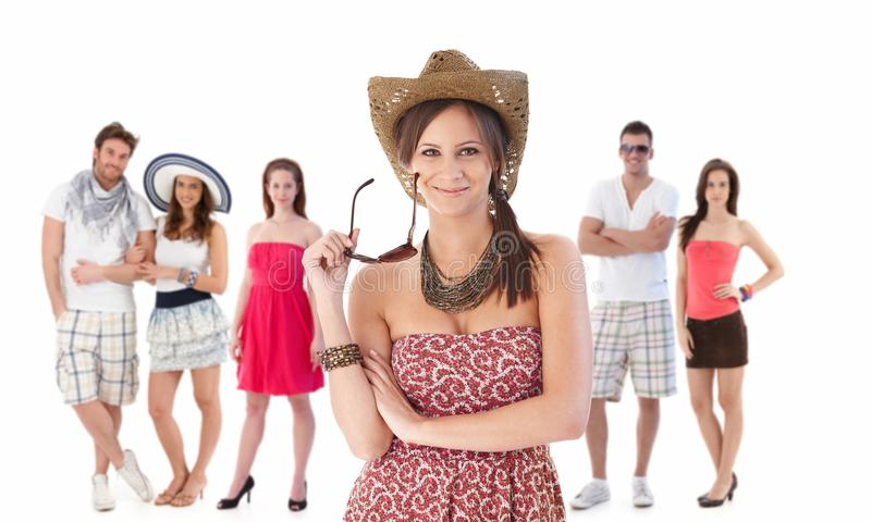 Download Group Portrait Of Young People In Summer Clothing Stock Image - Image of cheerful, friend: 19956481