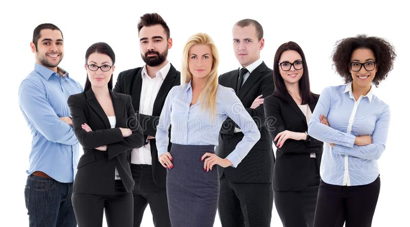 Group portrait of young successful business people in business suits isolated on white royalty free stock photography