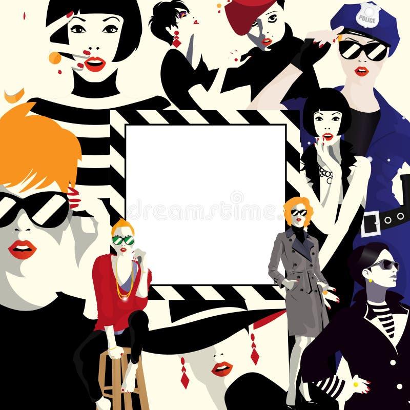 Group portraits of fashion women stock illustration