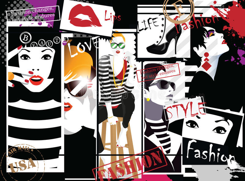 Group portraits of fashion women vector illustration