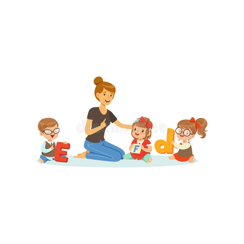 Group of preschool kids and teacher sit on carpet and learn letters. Speech and language therapist job. Vector flat. Group of preschool kids and teacher sit on royalty free illustration
