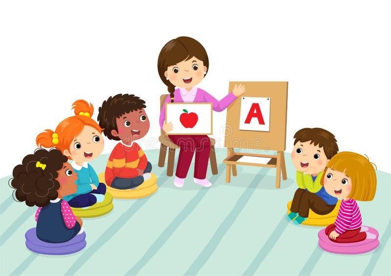 Group of preschool kids and teacher sitting on the floor.Teacher explaining alphabet to children royalty free illustration