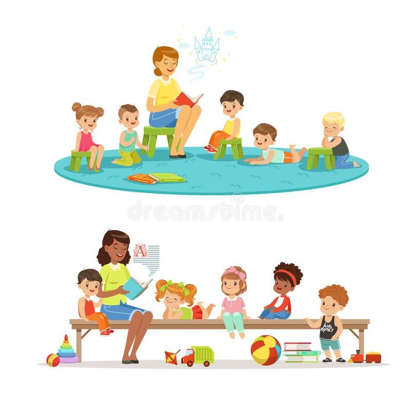 Group of preschool kids and teacher. Teacher reading for kids in the kindergarten. Cartoon detailed colorful royalty free illustration