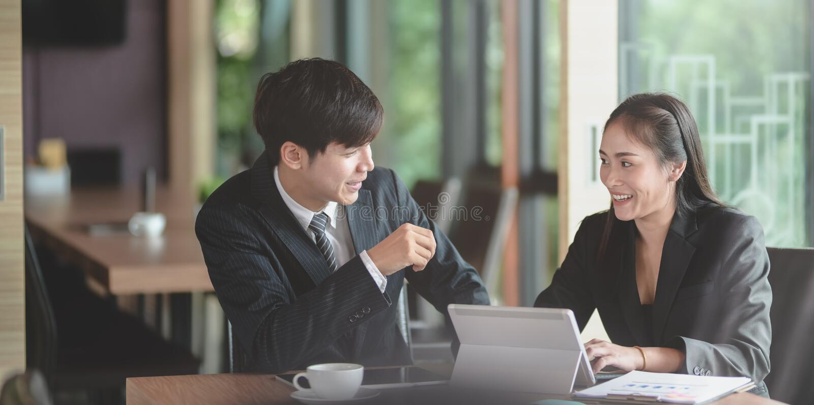 Group of professional business people discussing the project together royalty free stock photography