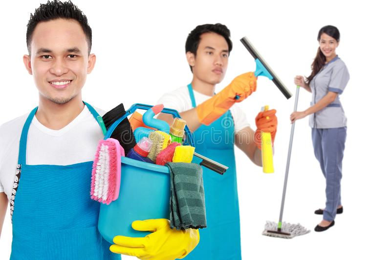 Group of cleaning services ready to do the chores royalty free stock images