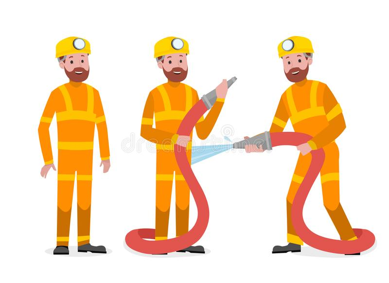 Group of professional fireman royalty free stock photo