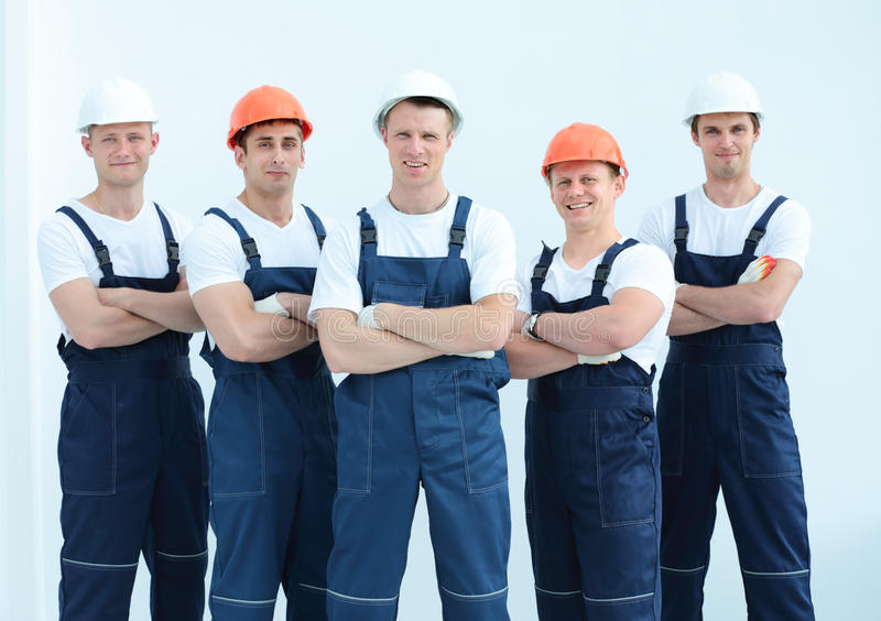 Group of professional industrial workers royalty free stock photos