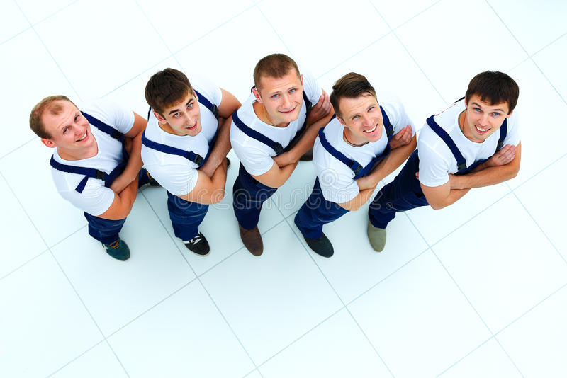 Group of professional industrial workers stock photos