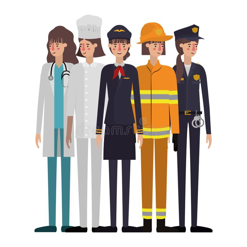 Group of professionals avatar character. Vector illustration desing royalty free illustration