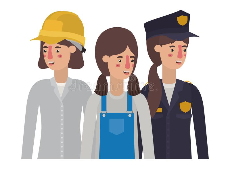 Group of professionals avatar character. Vector illustration desing stock illustration