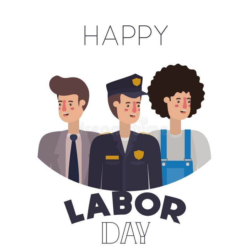 Group of professionals with happy labor day avatar character. Vector illustration desing vector illustration