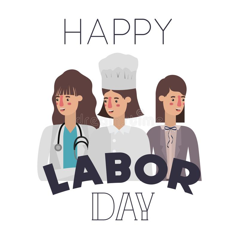 Group of professionals with happy labor day avatar character. Vector illustration desing royalty free illustration