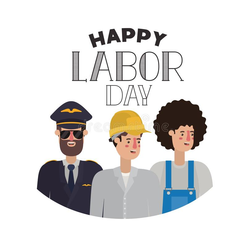 Group of professionals with happy labor day avatar character. Vector illustration desing stock illustration