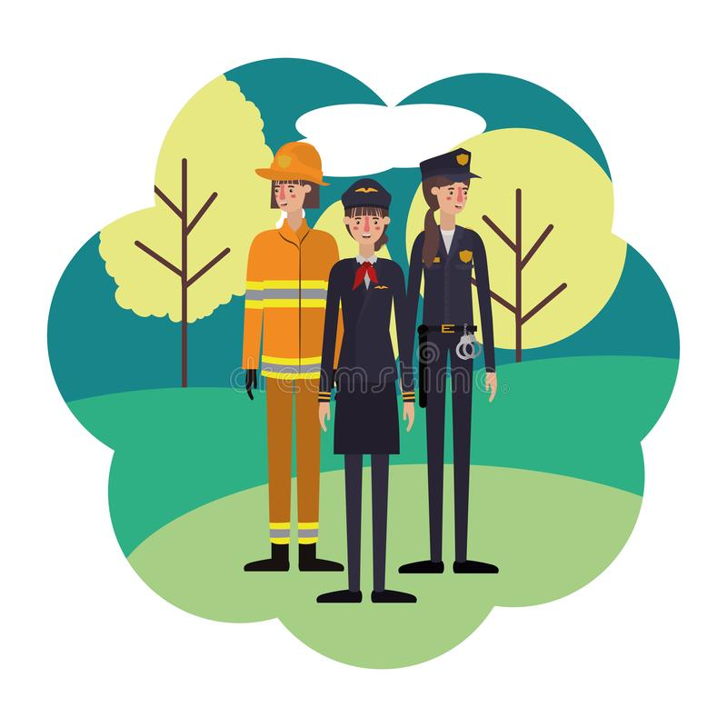 Group of professionals with landscape avatar character. Vector illustration desing royalty free illustration