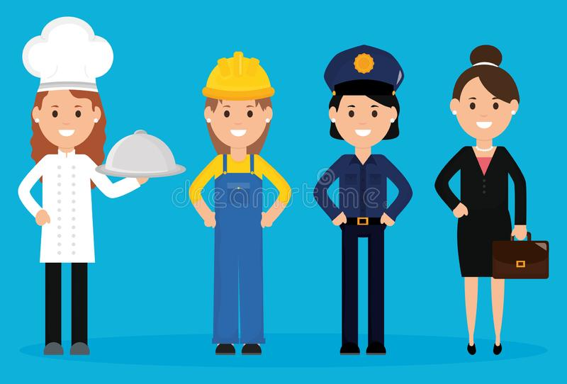 Group of professionals workers. Vector illustration design royalty free illustration