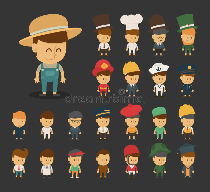 Group of professions cartoon characters. Eps10 vector format stock illustration