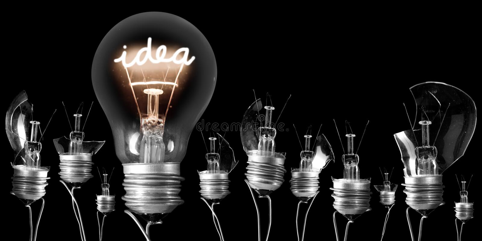 Light Bulbs with Idea Concept stock images