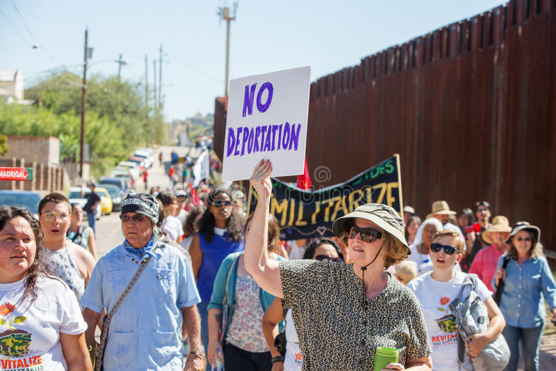 Group protesting deportation of veterans at USA and Mexico border. NOGALES, AZ - OCTOBER 08: Supporters and veterans protesting deportation policies at the stock images