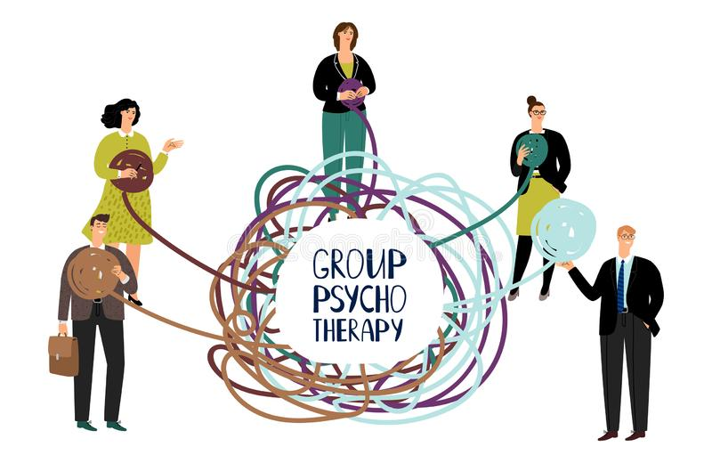 Group psychotherapy vector concept. Problem solving illustration with happy people. Psychotherapy help, problem psychological vector illustration