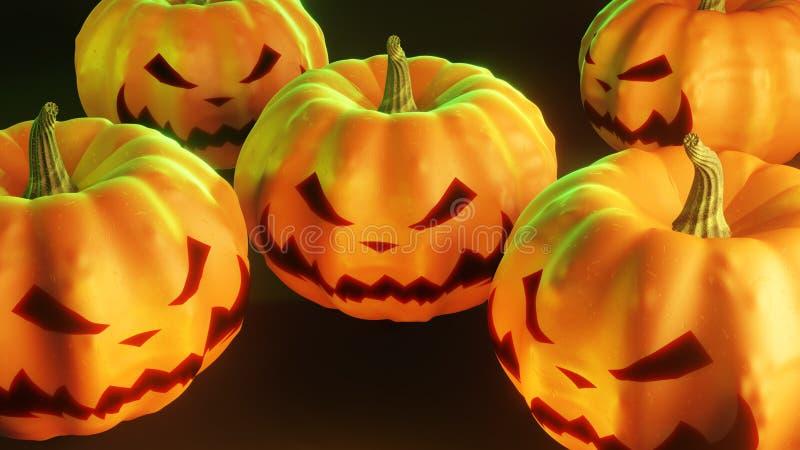 Halloween pumpkins on black background stock images