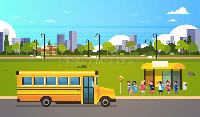 Group pupils children waiting yellow school bus station transport concept on cityscape background flat horizontal royalty free illustration