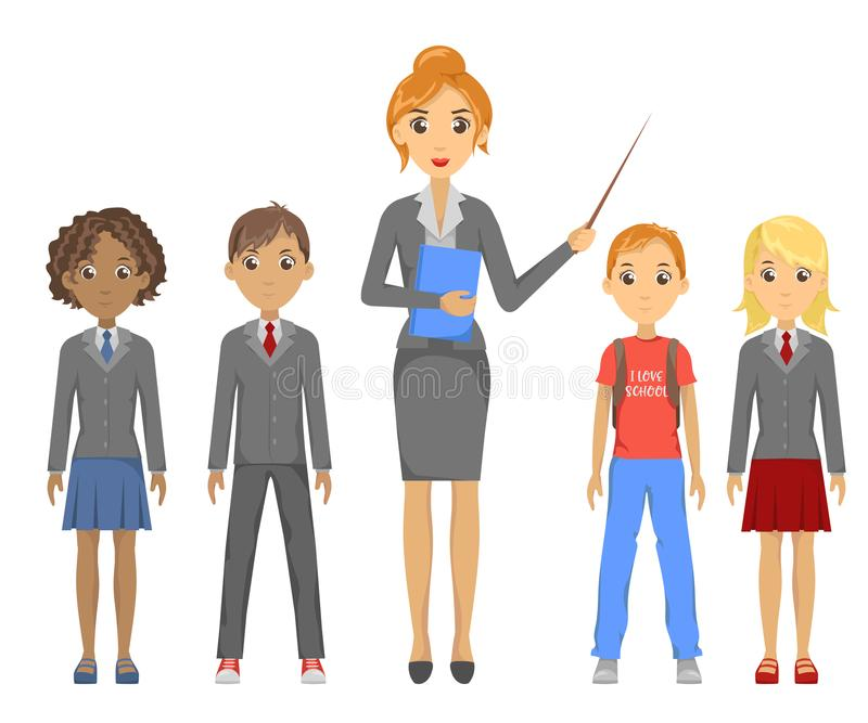 Group of pupils of different races stock photo