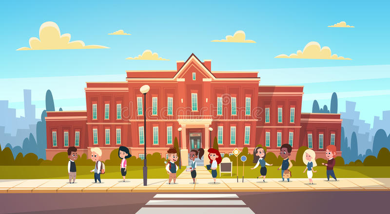 Group Of Pupils Mix Race Stand In Front Of School Building Primary Schoolchildren Talking Students stock illustration