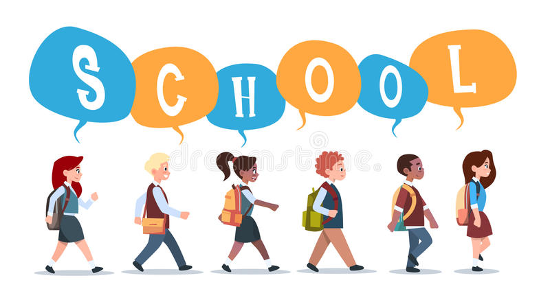 Group Of Pupils Mix Race Walking Back To School Schoolchildren Isolated Diverse Small Primary Students. Flat Vector Illustration stock illustration