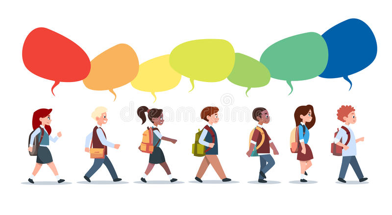 Group Of Pupils Mix Race Walking With Chat Bubbles School Children Isolated Diverse Small Primary Students. Flat Vector Illustration royalty free illustration