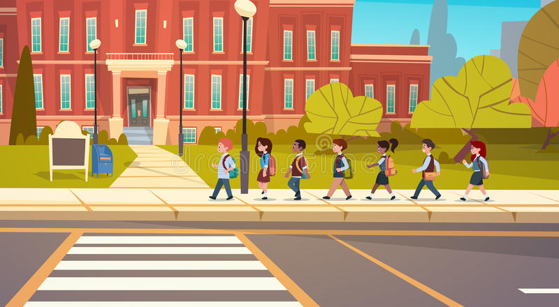 Group Of Pupils Mix Race Walking To School Building Primary Schoolchildren Students. Flat Vector Illustration stock illustration