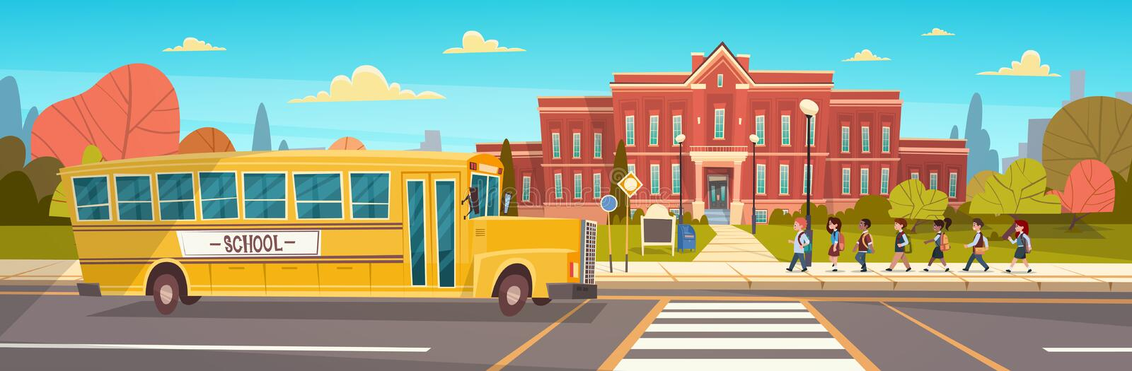 Group Of Pupils Mix Race Walking To School Building From Yellow Bus Primary Schoolchildren Students. Flat Vector Illustration royalty free illustration
