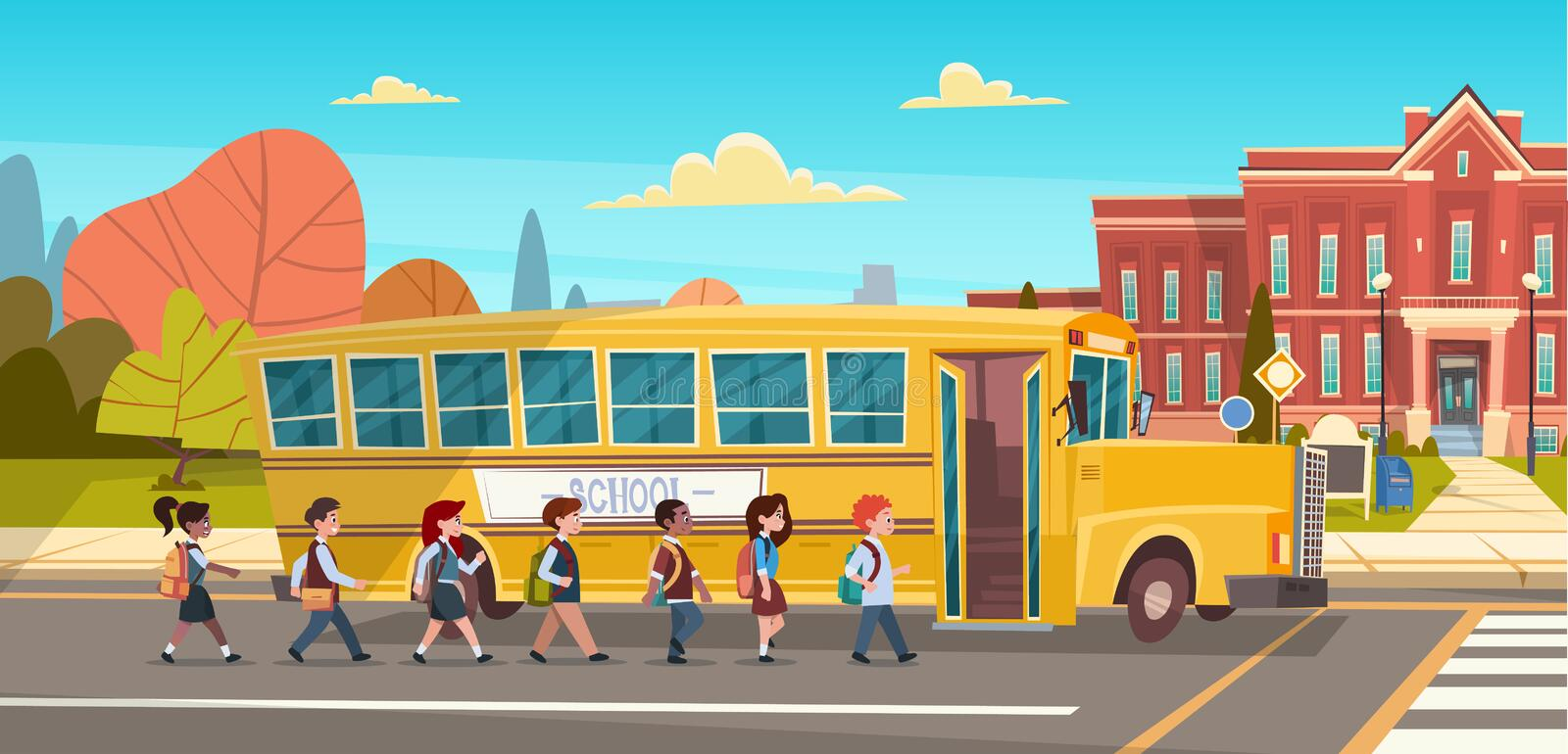 Group Of Pupils Mix Race Walking To School Building From Yellow Bus Primary Schoolchildren Students. Flat Vector Illustration stock illustration