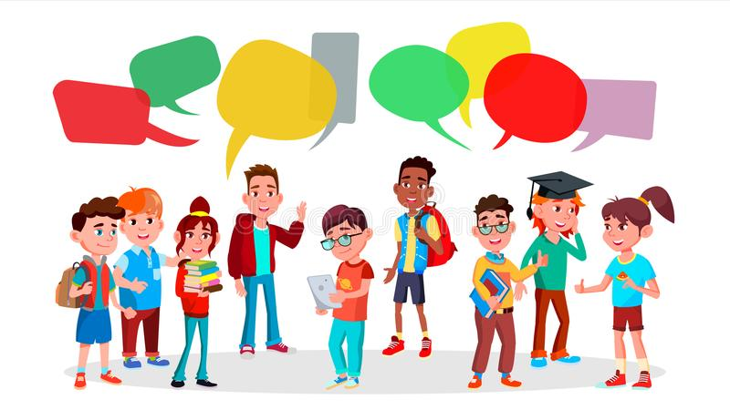 Group Of Pupils Vector. School. Social Network. Mix Race. Chat Bubbles. Discussing. Brainstorming. Talking Communication vector illustration