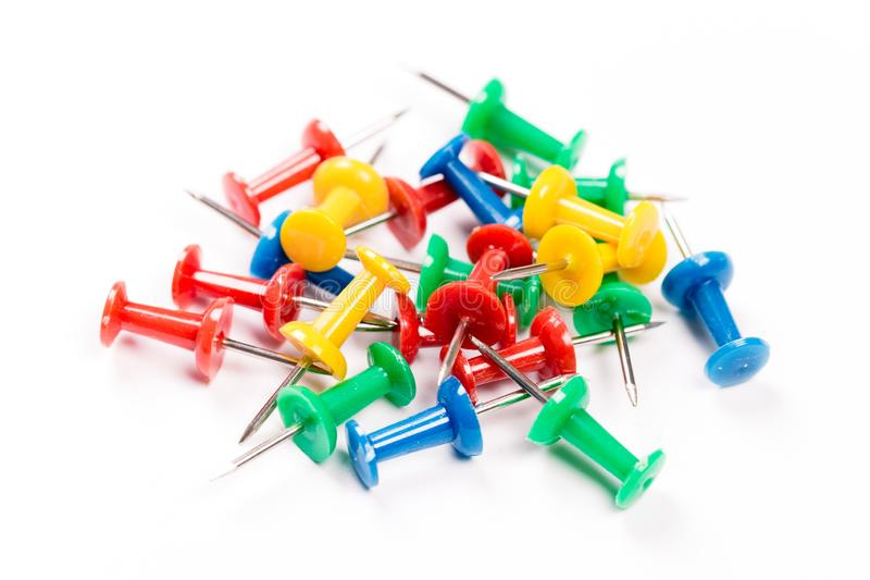 Set of colorful push pins isolated on white background. Group of push-pins, isolated on white royalty free stock photo