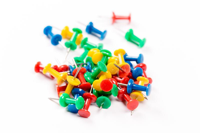Set of colorful push pins isolated on white background. Group of push-pins, isolated on white stock photo
